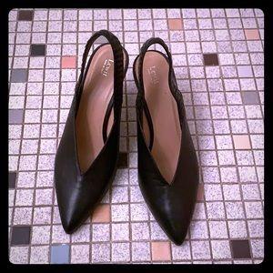 """Lewit Heels """"Marta Slingback Black Leather Pump"""""""